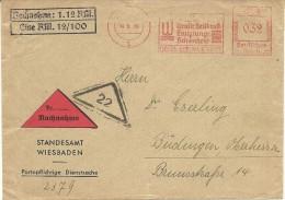 Germany  Cover  With Nice  Meter Uraltteheilkraft Ewigjunge Schonheit Wiesbaden 14-5-1939 NACHNAME - Duitsland