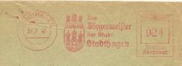 Germany  Cover  With Nice  Meter Der Burgemeister Der Stadt Stadhagen 21-7-1942 - Marcofilie - EMA (Print Machine)