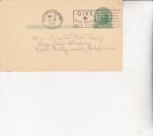 ETATS UNIS -ENTIER POSTAL  OBLITERE FLAMME CROIX ROUGE CAD MONTGOMERY 1943 - America Centrale