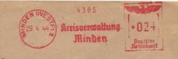 Germany Cover With Nice  Meter Kreisverwaltung Minden 29-4-1944 - Duitsland