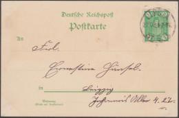 """Allemagne 1897, Carte Postale De Leipzig Exposition, Naschmarkt. Timbre De Poste Privée. Blason De Leipzig, Lettre """"L"""" - Enveloppes"""