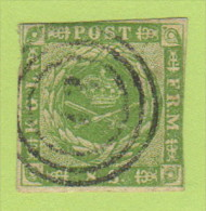 DEN SC #5a  1857 Royal Emblems 1+ Margins W/sm (wmk) Thin @ UR + Irreg Margin @ L, CV $80.00 - 1851-63 (Frederik VII)