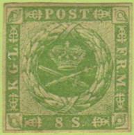 DEN SC #5a MH 1857 Royal Emblems 4 Margins W/lt Paper Adherent @ B (backside), CV $300.00 - 1851-63 (Frederik VII)