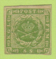 DEN SC #5a MH 1857 Royal Emblems 4 Margins W/some Gum (inspect) + Gum Thin @ LR CNR (backside) + Pencil Mrkg On Backside - 1851-63 (Frederik VII)