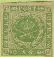 DEN SC #5a MH 1857 Royal Emblems 4 Margins W/some Gum (inspect) + Gum Thin @ LR CNR (backside) + Pencil Mrkg On Backside - Unused Stamps