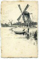 Carte Avec Des MOULINS - Gravure Signée A J - Netherlands