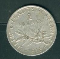 PIECE 2 FRANCS argent  semeuse ann�e 1916 �tat tb    - PIA6607
