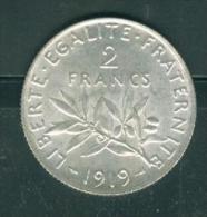 PIECE 2 FRANCS argent  semeuse ann�e 1919  �tat tb    - PIA6611