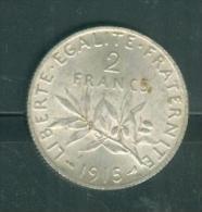 PIECE 2 FRANCS argent  semeuse ann�e 1915  �tat tb    - PIA6612