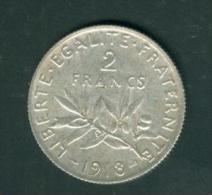 france  2 francs semeuse argent   ann�e 1918  etat tb/sup   - pia6707