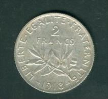 France  2 Francs Semeuse Argent   Année 1918  Etat Tb/sup   - Pia6707 - Francia