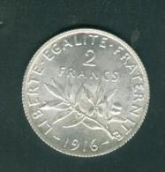 france  2 francs semeuse argent   ann�e 1916  etat tb/sup   - pia6708