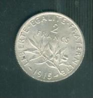 france  2 francs semeuse argent   ann�e 1915  etat tb/sup   - pia6709