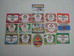 16 Beerlabels Kronen-Bräu Süss / Ottensoos - Bier
