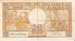 BILLETE DE BELGICA DE 50 FRANCS DEL 03-04-1956  (BANKNOTE) - [ 2] 1831-... : Reino De Bélgica