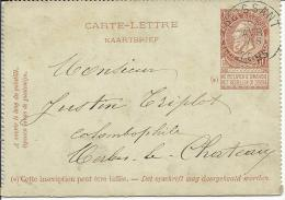 1895  Carte-lettre De Peissant (NIPA + 250 - Cachet Très Clair) Vers Merbes-le-Château - Cartas-Letras