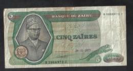 ZAIRE - 5 ZAIRES BANK NOTE 1977 / VERY GOOD - Zaire