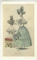 Lito Sur Papier Carton  2 Femmes  Coiffes Et Robes 19 Eme   Format  25x15 Cm Ball Dress Ladys Magazine - Ante 1900