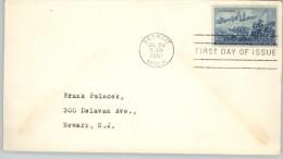 080380 Sc 1000 - DETROIT SKYLINE & CADILLAC LANDING - FDC DETROIT / JUL 24 1951 / MICH. - United States
