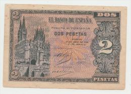 SPAIN 2 PESETAS 1938 VF+ Pick 109 - [ 3] 1936-1975 : Régence De Franco