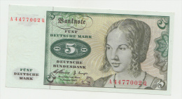 GERMANY 5 MARK 1960 AUNC Pick 18 - [ 7] 1949-… : RFA - Rep. Fed. De Alemania