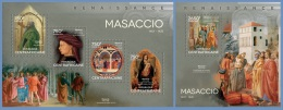 ca14417ab Central African 2014 Painting Renaissance Massacio 2 s/s