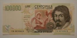 """100.000 Lire  """" Caravaggio """"  II° Tipo   D.M. 12-05-1994 -  B.I. 931  FDS - [ 2] 1946-… : Repubblica"""