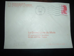 LETTRE TP LIBERTE DE GANDON 2,10F BORD CARNET DATE 22 11 84 OBL.MEC.  20-7-1985 MONTLUEL (01 AIN) - 1982-90 Liberty Of Gandon