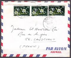 Lettre Cachet  ABECHE  Tchad  Le 18 XI 1970  Pour 56  LANDEVANT   Affranchie Avec 3 Timbres Identiques PAR AVION - Tchad (1960-...)