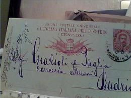 REGNO CARTOLINA POSTALE 10 C  X ESTER OAZZURRA MILLESIMO 89 DA BOLOGNA X BUDRIO  1890 EM9602 - 1878-00 Umberto I