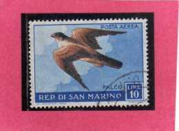 SAN MARINO 1959 POSTA AEREA AIR MAIL FAUNA AVICOLA BIRDS UCCELLI FALCO LIRE 10 USATO USED - Airmail