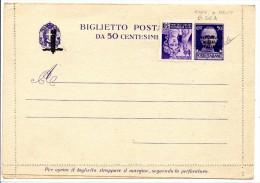 """1944 ITALIA REPUBBLICA SOCIALE BIGLIETTO POSTALE """"FASCETTO"""" C. 50 SOPR. A MANO ** - 4. 1944-45 Repubblica Sociale"""