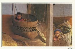 Children & Their Bamboo Baskets In  Nepal.   # 03818 - Nepal