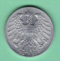 TRES RARE 5 SCHILLING 1957 FRAPPE MEDAILLE En SPL NON CIRCULE (UNC) - Autriche