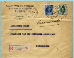 N°257+283 Op Aanget. Zending, Afst. DENDERMONDE / TERMONDE A 30/06/1930, Hoofding : Van De Voorde Charbons - 1922-1927 Houyoux