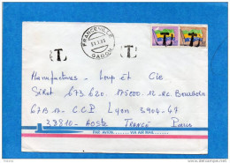 """MARCOPHILIE-lettre GABON -cad- 1983 Affranchie  Timbres Officiel  Non Admis  - """"T""""- Arrivée-+  Françe - Poststempel (Briefe)"""