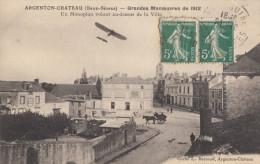 CPA - Argenton Ch�teau - Grandes maneuvres de 1912 - Un monoplan volant au dessus de la ville
