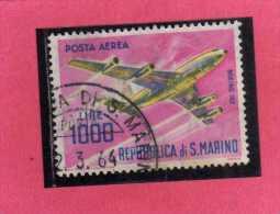 SAN MARINO 1964 POSTA AEREA AIR MAIL AEREI MODERNI MODERN PLANES LIRE 1000 BOEING 707 QUADRIREATTORE USATO USED - Posta Aerea