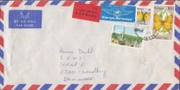 Kenya Airmail KANYA AIRWAYS & EXPRESS Labels NAIROBI 1989 Cover Brief To Denmark Butterflly Schmetterling Papillon - Kenia (1963-...)