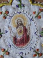 A2 IMAGE PIEUSE CANIVET RELIGIEUSE  BRODEE DENTELLE FLEURS  A VOIR  !!!! - Devotion Images