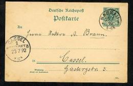 Germany Postal Stationery Postcard Used 1892 Nasau To Cassel (V420) - Deutschland