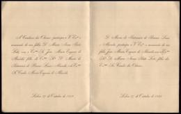 1898 Convite Casamento Filha CONDES Dos OLIVAES (Pinto Leite) / CONDE DE ARGE (Eugenio De Almeida) Embaixador Inglaterra - Engagement
