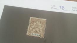 LOT 227657 TIMBRE DE COLONIE GABON OBLITERE N�28 VALEUR 17 EUROS