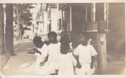 United States Black Americana 4 Little Girls Real Photo Véritable NEW HAVEN 1916 Via S/S United States Denmark (3 Scans) - Black Americana