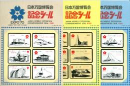 Erinnè, Close Envelope, Postal Stickers, Commemorative Seal EXPO '70 Buildings - Erinnophilie