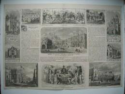 GRAVURE 1863. MONUMENTS DE MEXICO. PLACE SAINT-DOMINIQUE. L'AYUNTAMIENTO. TYPES D'INDIENS HABITANT DES HUERTAS. THEATRE - Prenten & Gravure