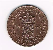 XX NETHERLANDS  EAST  INDIES 2 1/2 CENTS  1945 P