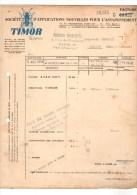 PARIS-CLERMONT-FERRAND à MOISSAC-facture TIMOR Bureaux Paris  Usines A Clermont-ferrand----voir Scans - France
