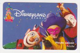 CLOWNS - DISNEY  DISNEYLAND PARIS - TICKET HAUTE SAISON ADULTE - 1 BEAUTIFUL GIFT CARD - NO VALUE - Cartes Cadeaux