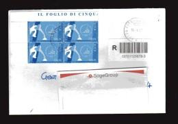 Italia-X- 2006 - St. Pos.Tim 2008 - Raccomandata.  Giochi Olimpici Invernali, In Quartina € 0,70 - 6. 1946-.. Repubblica